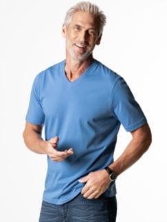 T-Shirt V-Ausschnitt Mittelblau Detail 2