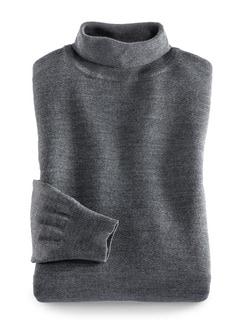Merino-Mix Rollkragen-Pullover Mittelgrau Detail 1