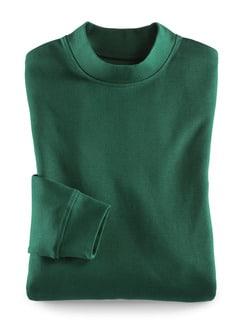 Langarm-Shirt Stehkragen Flaschengrün Detail 1