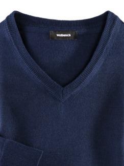Merino-Mix V-Pullover Königsblau Detail 3