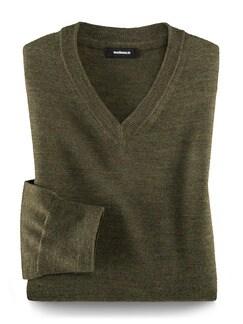 Merino-Mix V-Pullover Khaki Detail 1