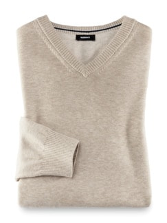 V-Pullover Cashmere Touch Sand Detail 1