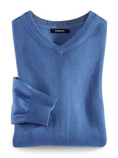 V-Pullover Cashmere Touch Mittelblau Detail 1