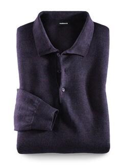 Merino-Mix Polo-Pullover Aubergine Detail 1