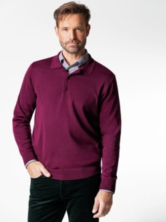 Merino-Mix Polo-Pullover Beere Detail 2