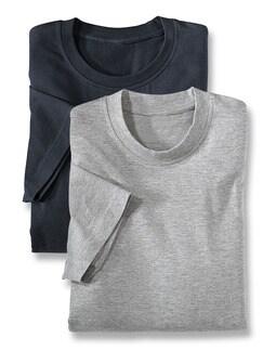 T-Shirt Rundhalsausschnitt DP Grau/Marine Detail 1