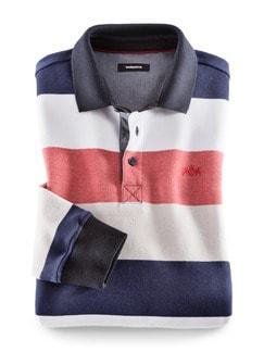 Polo-Pullover Maritim Breit Gestreift Blau Detail 1