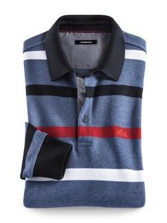 Polo-Pullover Maritim Schmal Gestreift Jeansblau Detail 1