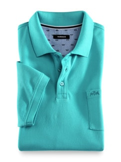 Pique-Polo Pima Cotton Aqua Detail 1