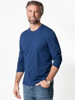 Langarm-Shirt Rundhalsausschnitt Blau Detail 2