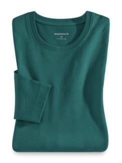 Langarm-Shirt Rundhalsausschnitt Smaragd Detail 1