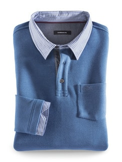 Hemd-Pullover 2 in 1 Mittelblau Detail 1