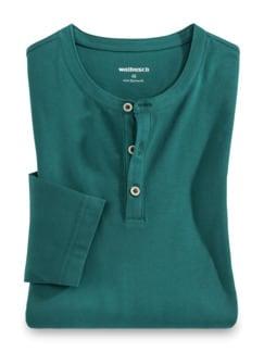 Henley-Shirt Smaragd Detail 1