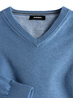 V-Pullover Soft Cotton Azurblau Detail 3