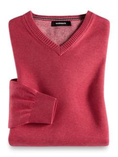 V-Pullover Soft Cotton Himbeere Detail 1