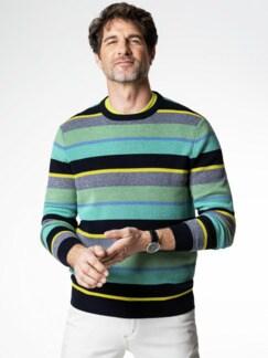 Streifen-Pullover Soft Cotton Mint/Gelb Detail 2