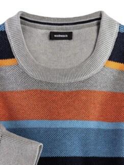 Streifen-Pullover Soft Cotton Azur/Orange Detail 3