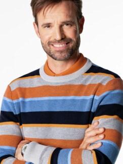 Streifen-Pullover Soft Cotton Azur/Orange Detail 4