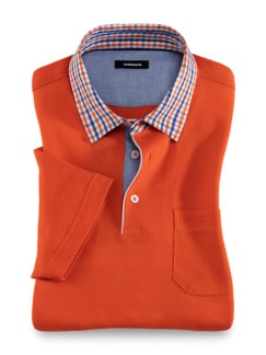 Pique-Polo Karokragen Orange Detail 1