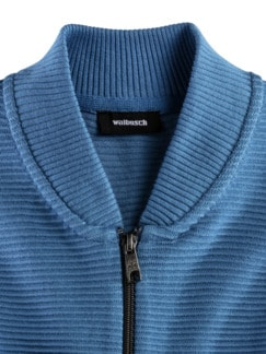Zip-Jacke Ottoman Mittelblau Detail 3