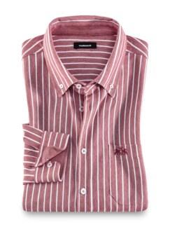 Komfort-Shirt Extraglatt Rot gestreift Detail 1