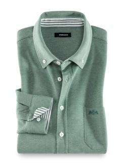 Komfort-Shirt Extraglatt Grün Detail 1