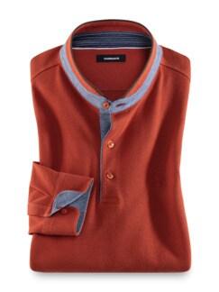 Stehkragen-Polo High-Class Orange Detail 1