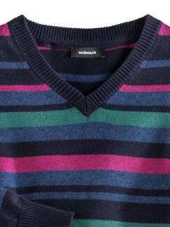 Streifen-Pullover Soft Cotton Beere/Smaragd Detail 4