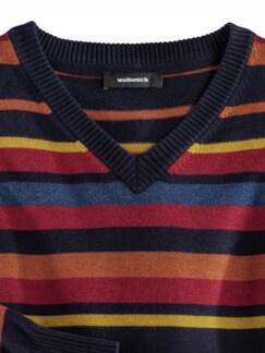 Streifen-Pullover Soft Cotton Terra/Rot Detail 4