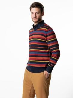 Streifen-Pullover Soft Cotton Terra/Rot Detail 2
