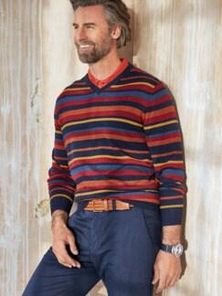Streifen-Pullover Soft Cotton Terra/Rot Detail 3