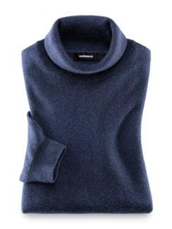 Cashmere Rollkragenpullover Jeansblau Detail 1