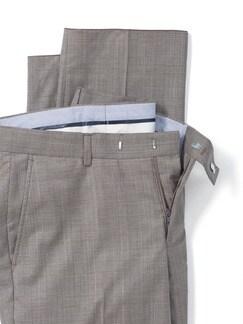 Glencheck-Anzug-Hose Super 130 Greige Detail 4