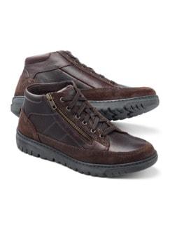 Thermo Kalbleder-Sneaker High Top Braun Detail 1