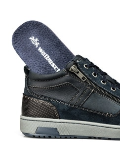 Kalbsleder-Sneaker High Top Blau Detail 3