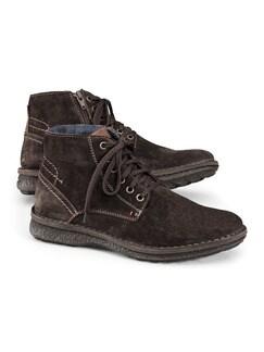 Reißverschluss-Velours-Stiefel Braun Detail 1
