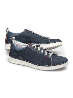Nubuk-Sneaker Handnaht Blau Detail 1