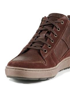 Kalbsleder-Sneaker High Top Cognac Detail 4