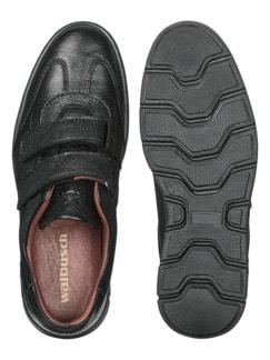 Hirschleder-Doppelklett-Sneaker Schwarz Detail 2
