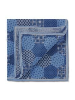 Einstecktuch Ornament-Patchwork Blau/Hellblau Detail 1