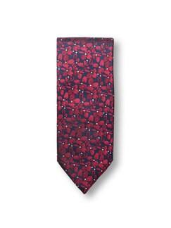 Seidenkrawatte Blumendessin Rot Detail 1