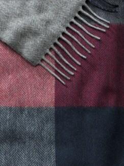 Kaschmir-Schurwoll-Schal Blau/Rot/Grau Detail 3