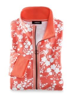Sweatshirtjacke Blumenpracht Pfirsich/Weiß Detail 2