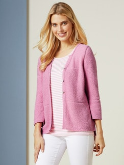 Feinboucle Strickjacke Softpink Detail 1