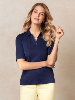 Poloshirt Soft Cotton Marine Detail 1