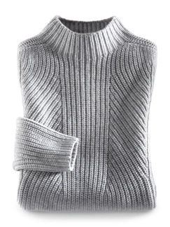 Cashmino Pullover Nahtlos Grau Melange Detail 2