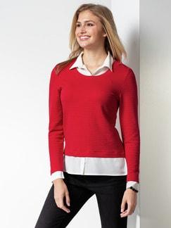 Easycare Sweatshirt Blusenkragen Rot Detail 1