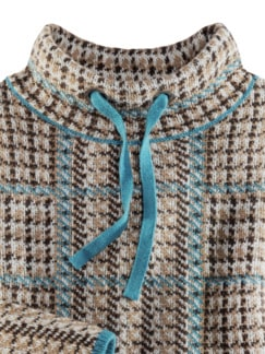 Karo Flausch-Pullover Country Life beige/Petrol Detail 4