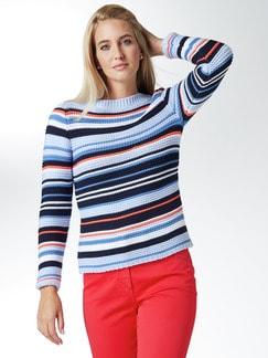 Struktur-Streifen-Pullover Blau/Orange Detail 1