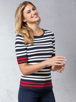 Strick Shirt Pima Cotton Streifen Blau/Rot Detail 1